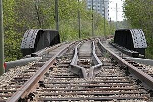 Strathcona路面电车铁路运输 免版税库存图片