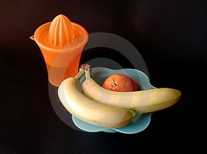 Orange juice and bananas Royalty Free Stock Photography
