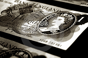 Old british banknotes - sepia Royalty Free Stock Photo