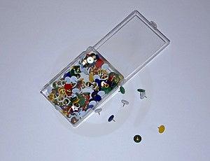Box of push pins Stock Image