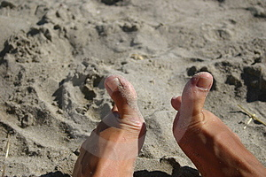 Woman's Feet At The Beach Free Stock Image