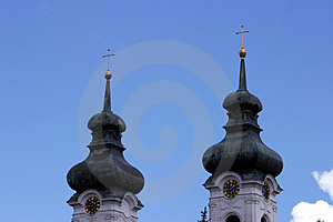 Two church towers Stock Image