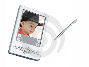 Digital Pda Camera & Stylus Over White With Screen Shot Of Toddl Free Stock Image