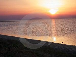 Coucher du soleil dans Kerkennah Image stock
