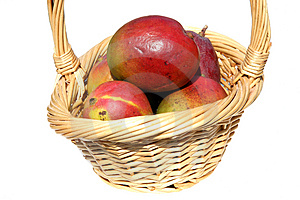Basket Of Mangos Stock Photography