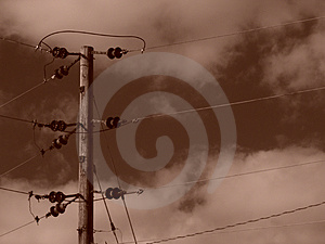 Sepia Power Lines With Clouds Stock Photo