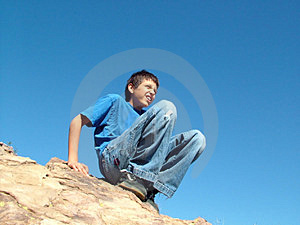 Perched Boy Royalty Free Stock Photos