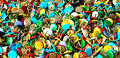 Coloured corkboard pins Royalty Free Stock Image