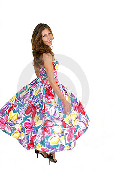 Beautiful Woman Spinning In Colorful Dress Stock Photo - Image: 1009670