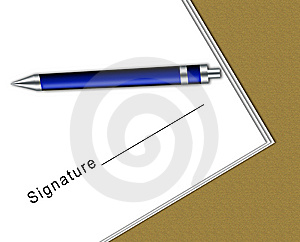 Contract With Signature Space And A Pen Royalty Free Stock Photos - Image: 10001428