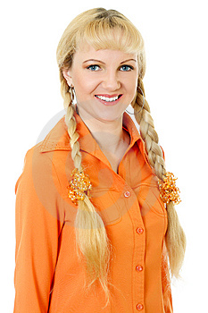 Engaging Girl In Orange Clothes Stock Photos - Image: 10001853