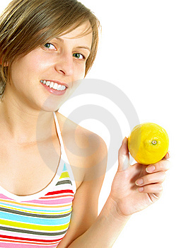 Very Cute Lady Showing A Lemon Stock Photography - Image: 10002832