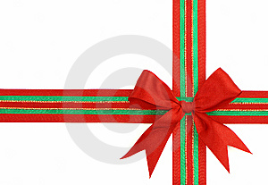 Red And Green Ribbon And Bow Royalty Free Stock Photos - Image: 10005008