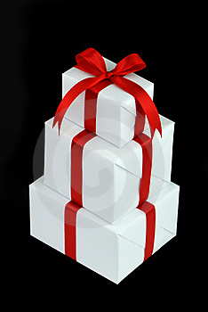 Three White Gift Boxes With Red Ribbon Royalty Free Stock Image - Image: 10005116