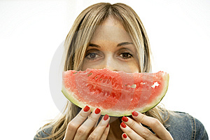 Enjoy The Perfect Slice Of Watermelon. Royalty Free Stock Photography - Image: 10005147