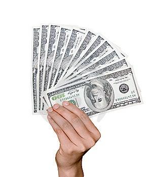 Hand Holds Hundred Dollar Bills Stock Photos - Image: 10005603