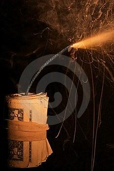 Burning Roll Of Dollars Dark BG Closeup Royalty Free Stock Photography - Image: 10006697