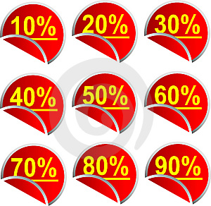 Button Discount Percentages Royalty Free Stock Photography - Image: 10010047
