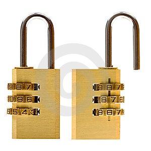 Padlock (closed & Open) Isolated On White Royalty Free Stock Photos - Image: 10014588