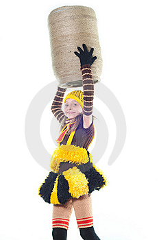 Girl In A Suit Of A Bee Royalty Free Stock Images - Image: 10015409