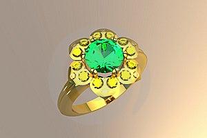 Flower Shape 1 Carat Emerald Gold Ring Royalty Free Stock Images - Image: 10015759