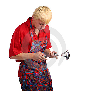Young Man In Apron With Cook Tools Stock Photography - Image: 10016572