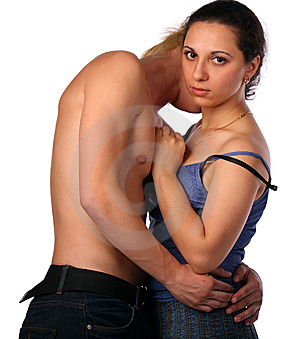 Young Couple Embraces Stock Image - Image: 10016591