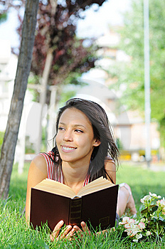 Young Woman In Green Park, Book And Reading Stock Images - Image: 10017614