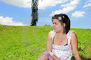 Woman On Green Summer Grass Royalty Free Stock Photography - Image: 10021647