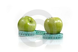 Centimeter And Two Apples Stock Photos - Image: 10024553