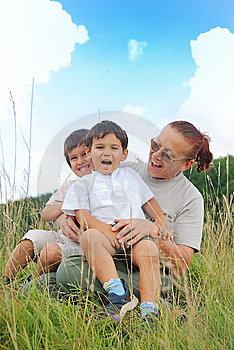 Happy Three Children In Nature With Grandmother Royalty Free Stock Photo - Image: 10027225