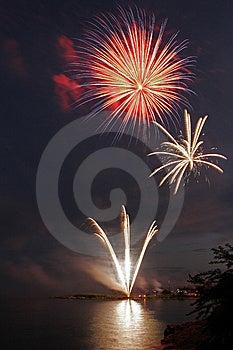 Fireworks Over Long Island Sound Royalty Free Stock Image - Image: 10035346