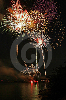 Fireworks Over Long Island Sound Royalty Free Stock Photo - Image: 10035355