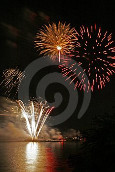 Fireworks Over Long Island Sound Royalty Free Stock Photography - Image: 10035357