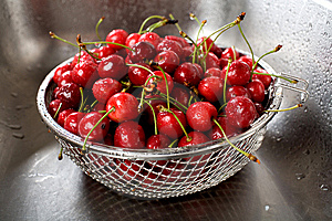 Wet Fresh Cherry In Sink Stock Photo - Image: 10035570