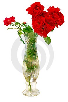 Bouquet Roses In Vase Stock Photo - Image: 10036040