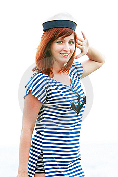 Girl In Striped Vest Saluting Royalty Free Stock Image - Image: 10037476