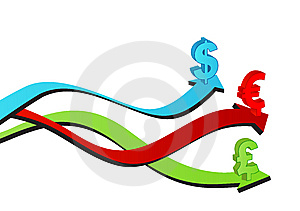 Arrows With Symbol Of Euro, Dollar And Sterling Royalty Free Stock Images - Image: 10044489