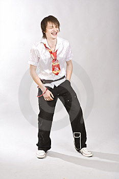 Full Length Of A Happy Young Guy Standing Against Stock Photo - Image: 10049760