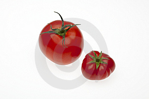 Two Tomatoes One Biological, One Trade With Path Stock Photography - Image: 10056222