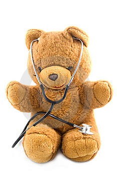 Teddybear Acting As A Doctor With A Stetoscope Stock Image - Image: 10056651
