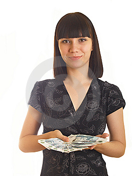 Woman Holding Money Stock Photos - Image: 10056803