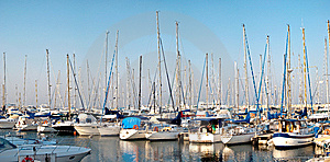 Series Of Panoramic Images From The Harbor With Ya Royalty Free Stock Image - Image: 10058176