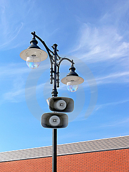 Loud-speakers On Lamppost Royalty Free Stock Image - Image: 10060386
