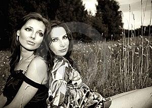 Two Sensual Girls Outdoors Stock Photos - Image: 10069013