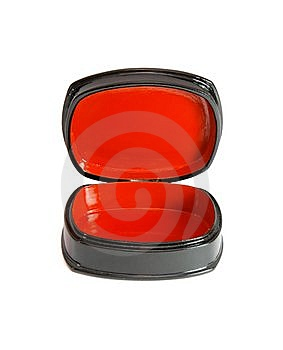 Open Oval Black And Red Casket Isolated Royalty Free Stock Image - Image: 10072616