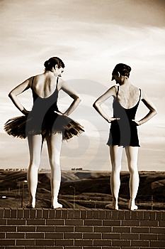 Ballerinas On A Wall Stock Images - Image: 10076814