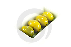 Four Green Olives In A Dish Stock Images - Image: 10079334