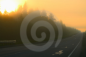 Fog On Road Royalty Free Stock Image - Image: 10080426