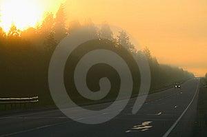 Fog On Road Royalty Free Stock Image - Image: 10080426